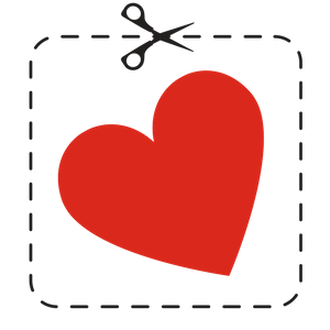 Red Heart With A Cut Line And Scissors