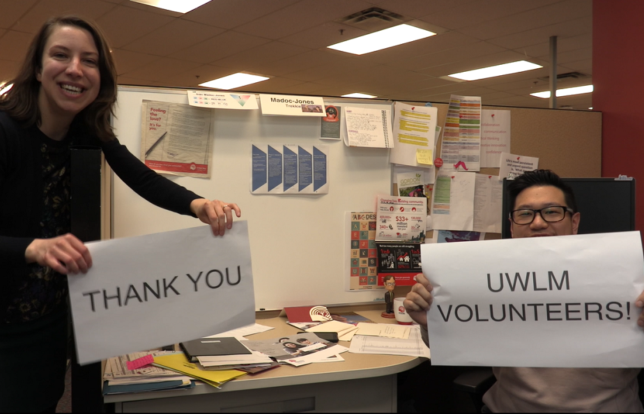 thank you and uwlm volunteer signs
