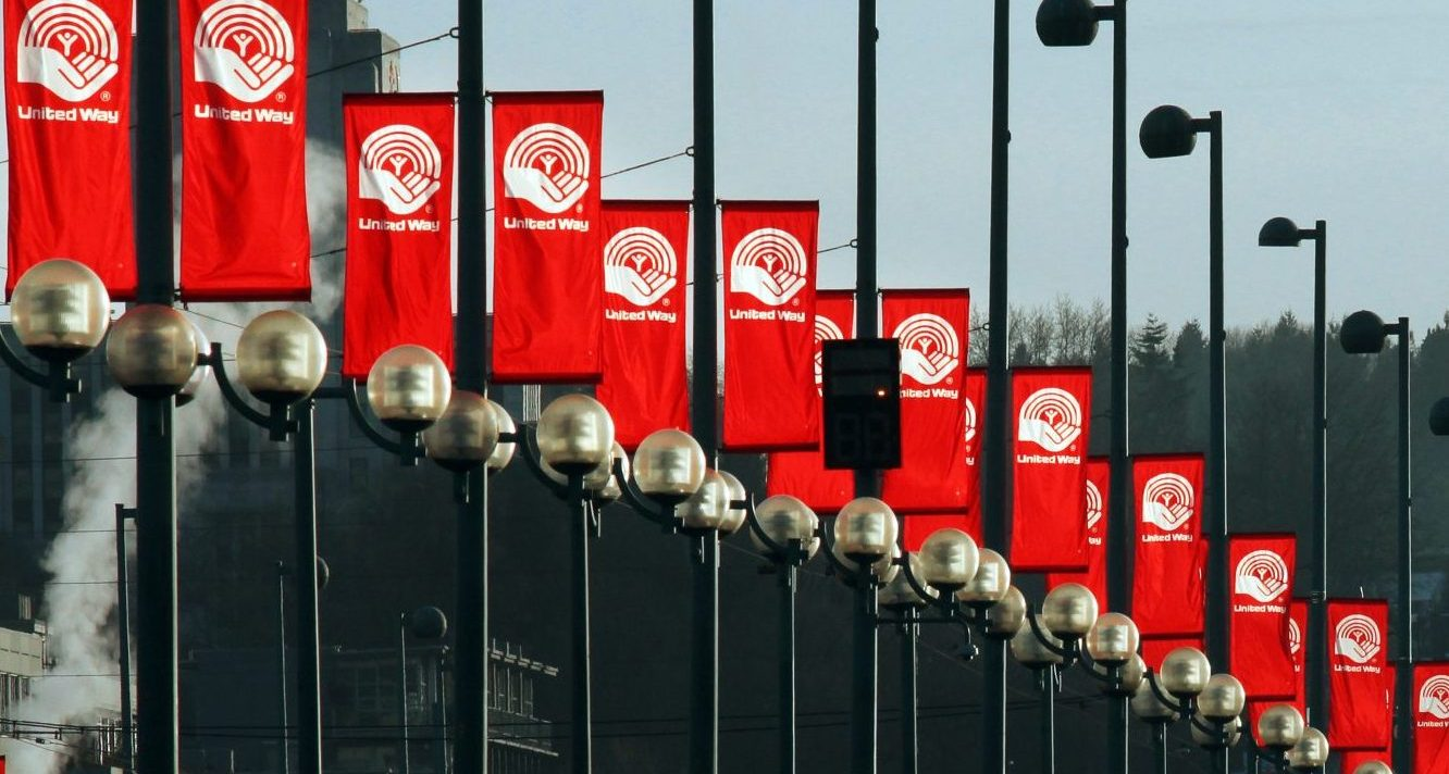 red banners hanging on a street