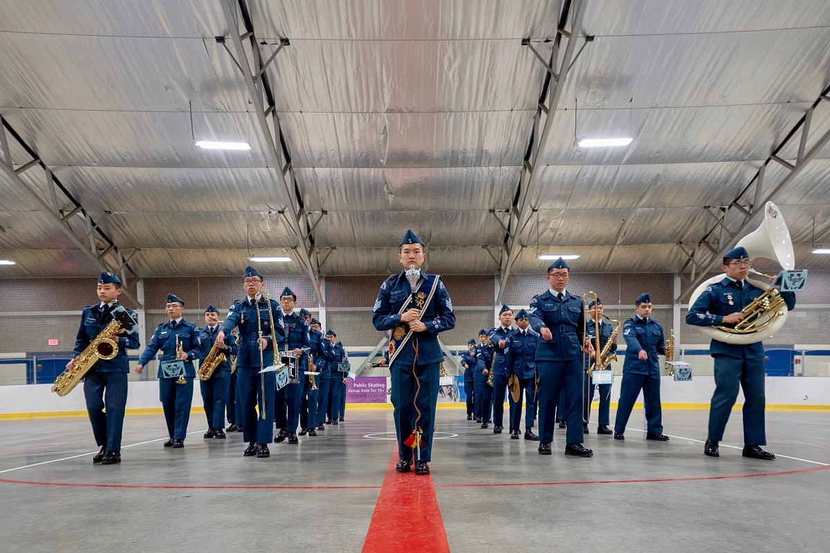 Air cadets in formation.